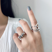 Silvology 925 Sterling Silver Weave Line Wide Rings Vintage Irregular Design Industry Thick Korea High Quality Jewelry