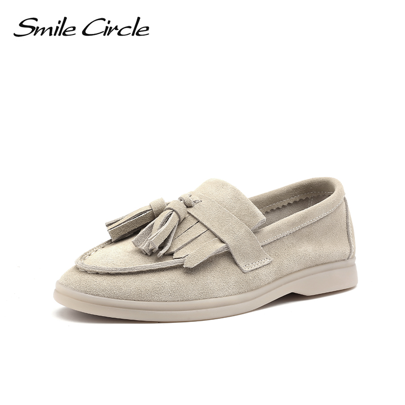 Smile Circle/loafers Women Cow-suede Slip-On Flats Shoes Genuine Leather Tassel Ballets Flats Shoes Women Moccasins Size 36-42