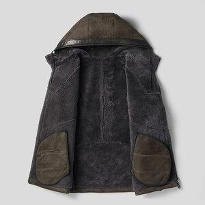 Image 3 - Dk com capuz casaco de pele de carneiro com capuz engrossar roupas de pele armygreen casual casacos de pele de qualidade superior outwear