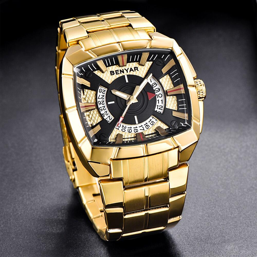 BENYAR Men's Watch Business Golden Stainless Steel Men Quartz Watches Male Fashion Creative Sports Waterproof Clock Wristwatches