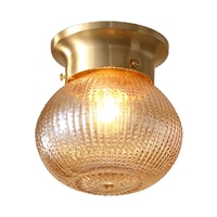 LukLoy Pineapple Glass Ceiling Lamp Corridor Aisle Entrance Classical Copper Ceiling Lights Bedside Balcony Pineapple Lamp