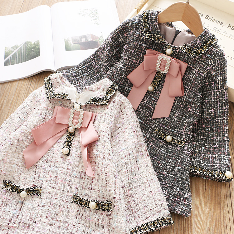 Woolen Colorful Girls Elegant Dress Kids Princess Lattice Dresses Kid Toddler Girls Full Sleeve Dress Kids Clothes