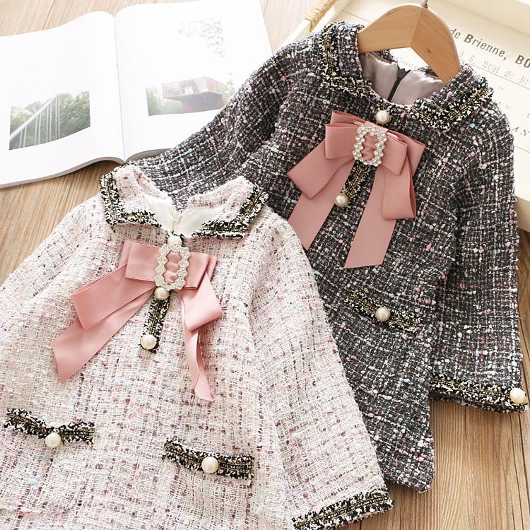 Woolen Colorful Girls Elegant Dress Kids Princess Lattice Dresses Kid Toddler Girls Full Sleeve Dress Kids Clothes