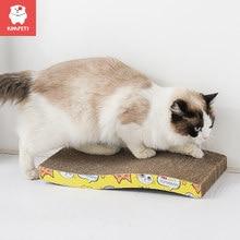 Kimpets gato brinquedos gato riscar placa garra moedor de papel ondulado suprimentos de gato resistente ao desgaste scratcher