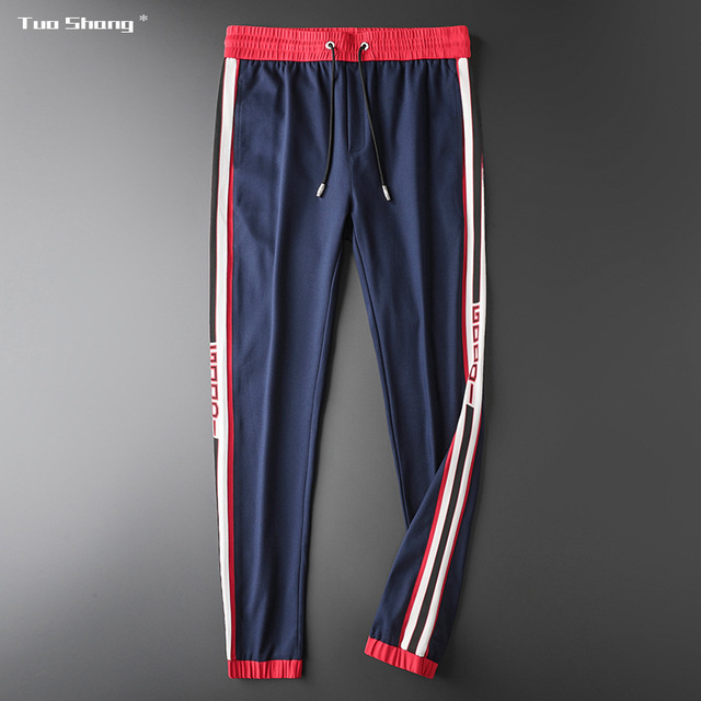 Mens Breathable Jogger Pants New Drawstring Sports Track Pants Men Street Fashion Side Stripe Designer Joggers Casual Trousers 14