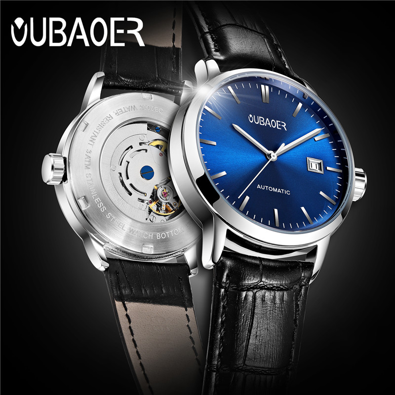 2019 Original OUBAOER Men Watch Top Brand Luxury Automatic Mechanical Watch Leather Military Watches Clock Men Relojes Masculino