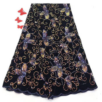 Popular African Lace Fabric High Quality French Lace / Net Lace / Embroidery Lace Fabric With Sequins For Wedding Dress M1041