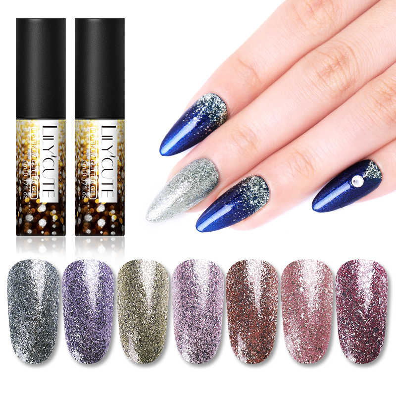 LILYCUTE 5ml Platinum Paillette Flakies เล็บ Glitter GEL Shining ทาเล็บ UV HYBRID GEL เล็บมือ BASE Coat
