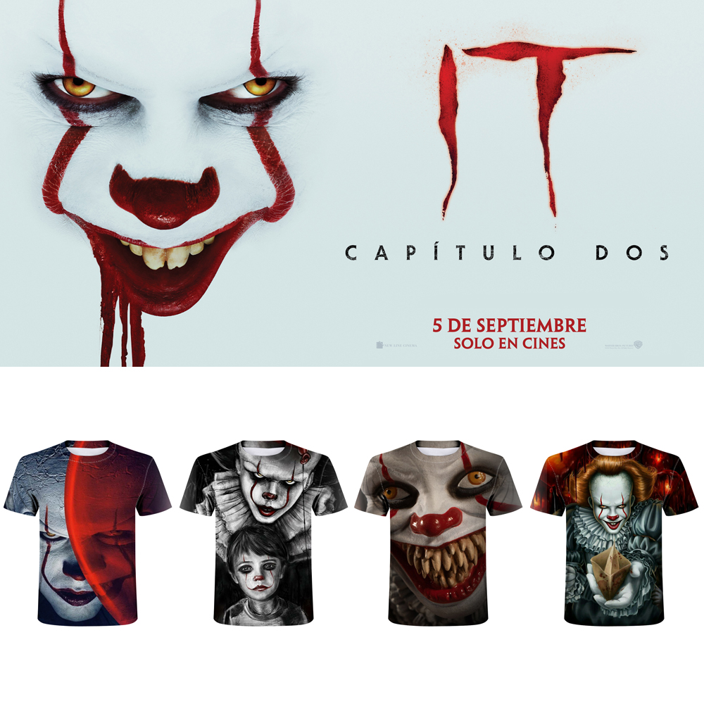 Stephen King's Eponymous Novel Pennywise Clown Men t-shirt Fashion Casual Harajuku t shirt Horror Movie Funny Tee Tops Halloween image