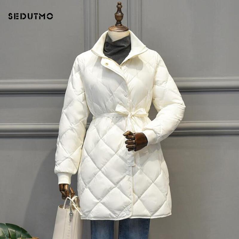 SEDUTMO Winter Long Duck Down Jackets Women Tunic Coat Spring Casual Black Belt Puffer Jacket Autumn Parkas ED924