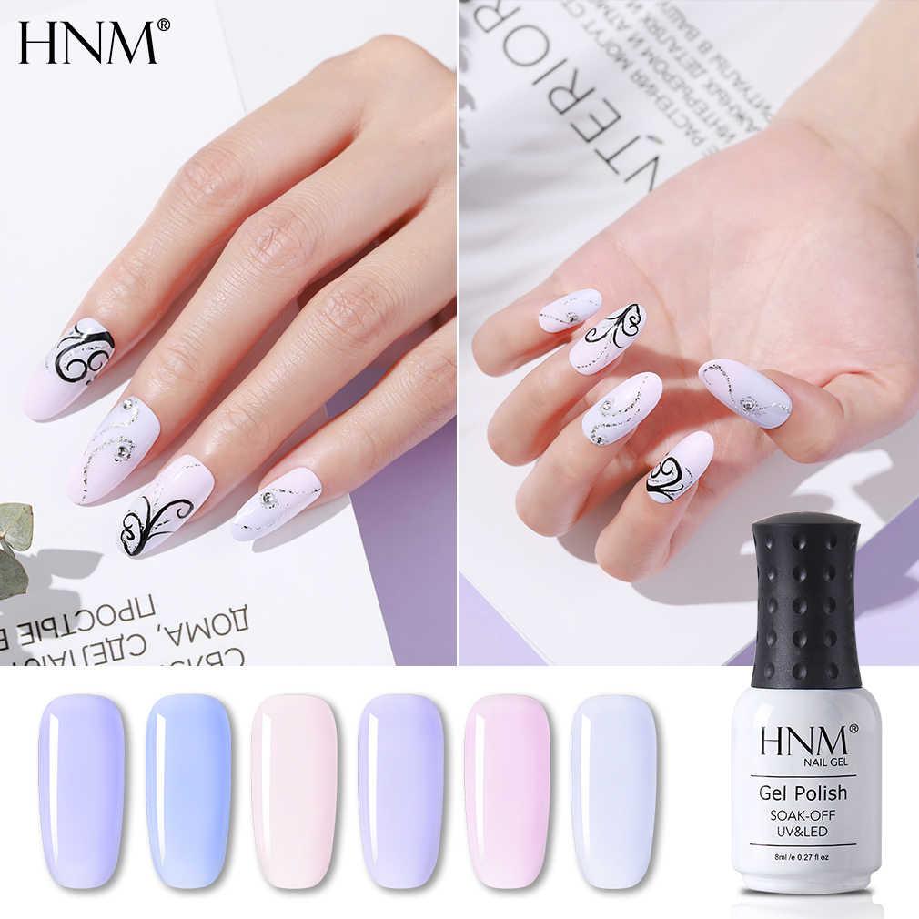 HNM 8Ml Light สีม่วงภาษาฝรั่งเศสคำ NUDE สียาทาเล็บเจลสีลาเวนเดอร์ Lilac สี UV LED Lacquer Soak OFF ติดทนนานเคลือบเงา