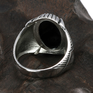 Image 3 - Guaranteed 925 Sterling Silver Rings Antique Turkey Ring For Men Black Ring With Stone Natural Onyx Turkish Male Jewelry