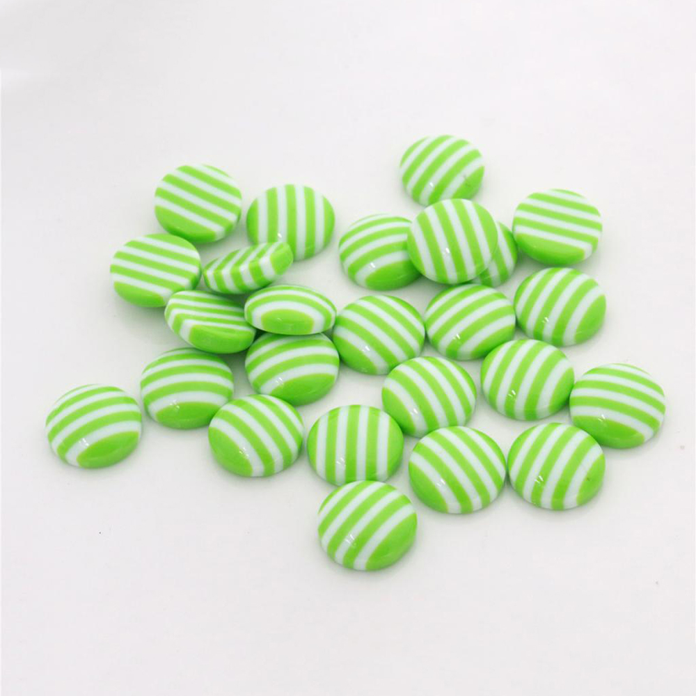 New Fashion 40pcs 12mm White Green Colors Stripe Style Flat Back Resin Cabochons Fit 12mm Cameo Base Cabochons-W3-16