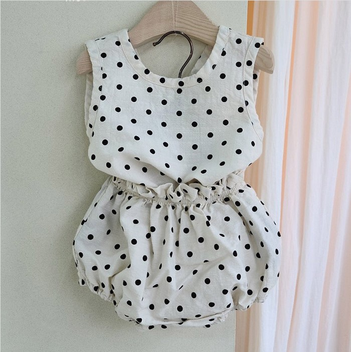 MILANCEL summer baby clothes polka dot baby boys clothes vest tops and bloomer toddler girls suit baby outfit