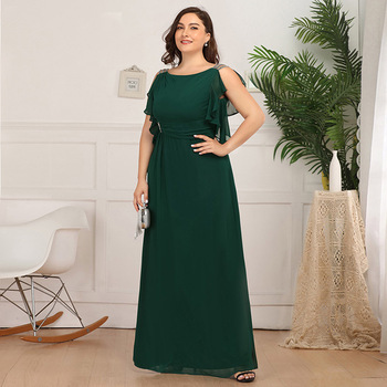 green elegant evening dress plus size a line ruffles sleeveless floor length burgundy wedding party formal gowns evening dresses
