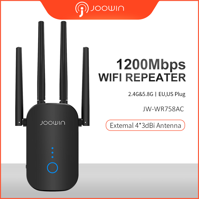 Joowin AC1200 2.4G&5.8G DUAL band 1200Mbps Wifi Repeater Wifi Extender repetidor with 4 external antennas Long range JW WR758AC|Wireless Routers| |  - title=