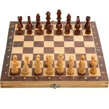 Большой магнитный деревянный складной Шахматный набор, валяная игровая доска 39 см * 39 см, внутреннее хранилище, подарок для взрослых и детей,...