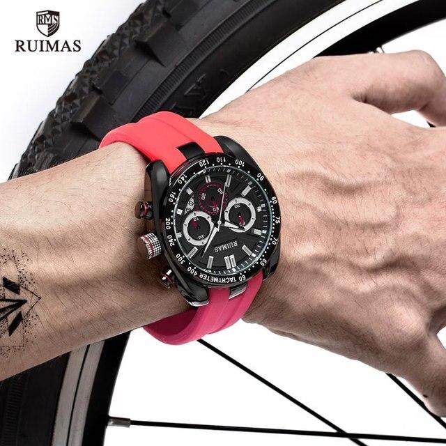 RUIMAS Men Watches Red Silicone RN541G