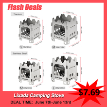 Lixada Outdoor Camping Stove Portable Ultralight Folding Stainless Steel Wood and Alcohol Stove Pocket with Alcohol Tray Camping