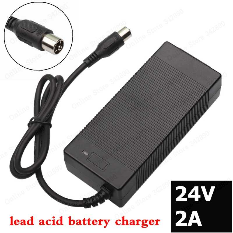24V 2A lead-acid battery Charger electric scooter 24 Volts ebike charger wheelchair charger golf cart charger for Lawnmower RCA