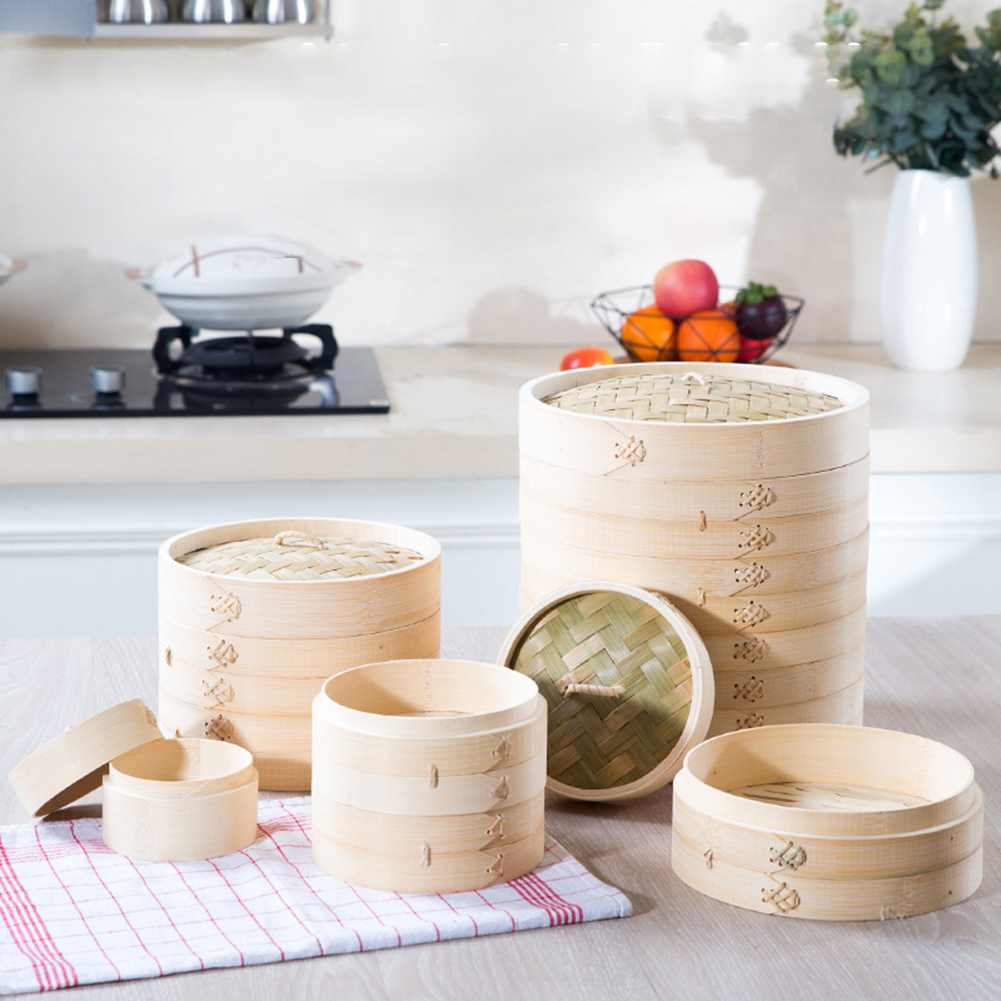 One Cage One Cover Bamboo Steamer Fish Rice Vegetable Basket Set Kitchen Cooking Tools Dumpling Steamer Steam Pot