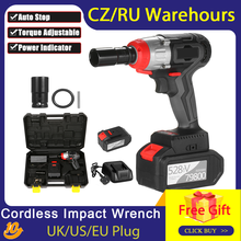 980Nm Torque Cordless Impact Wrench Brushless Motor with Quick Chuck 2x4.0A Fast Charger Variable Speed Multifunction Impact Kit