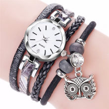 Clock Women Watches Reloj Mujer Ladies Watch Reloj Fashion Women Girls Analog Quartz Owl Pendant Ladies Dress Bracelet Watches(China)