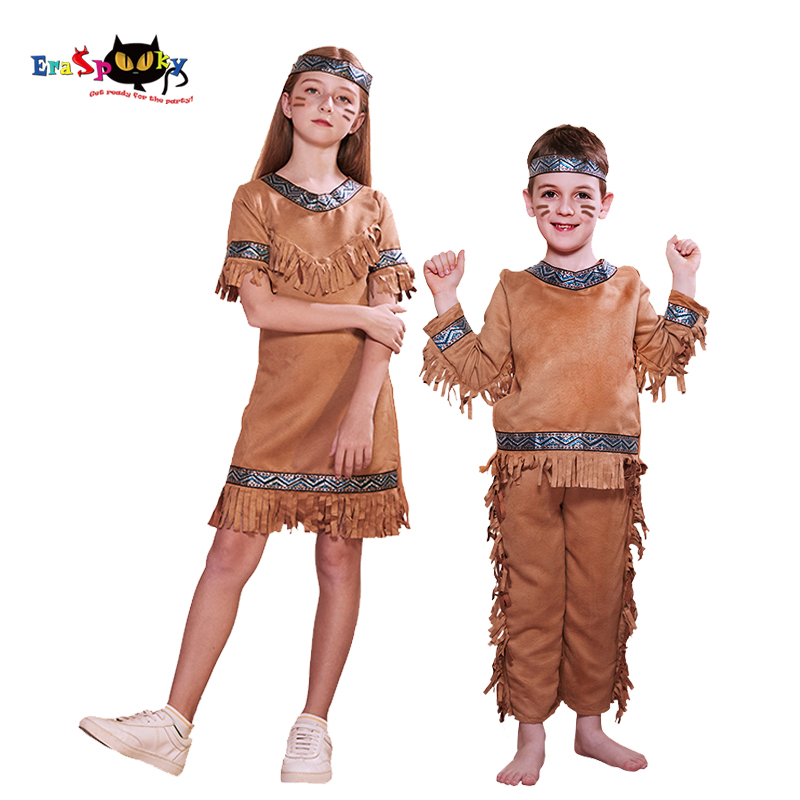 Eraspooky Purim Carnival Party American Primitive Cosplay Girls Boy Africa Native Hunters Fancy Dress Halloween Costume For Kids