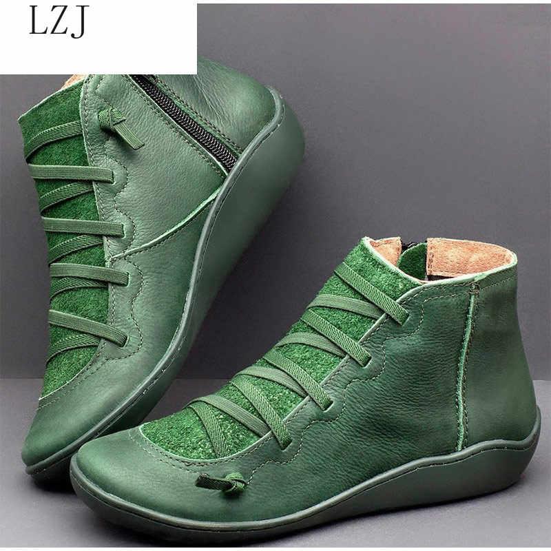 2019 kadın PU deri yarım çizmeler kadın sonbahar kış çapraz Strappy Vintage kadınlar serseri çizmeler düz bayan ayakkabıları kadın Botas Mujer