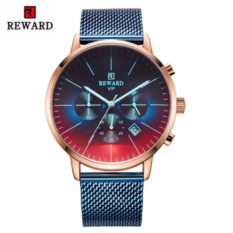 2019 New Fashion Color Bright Glass Watch Men Top Luxury Brand Chronograph Men's Watch Stainless Steel Sport Clock Men Watch