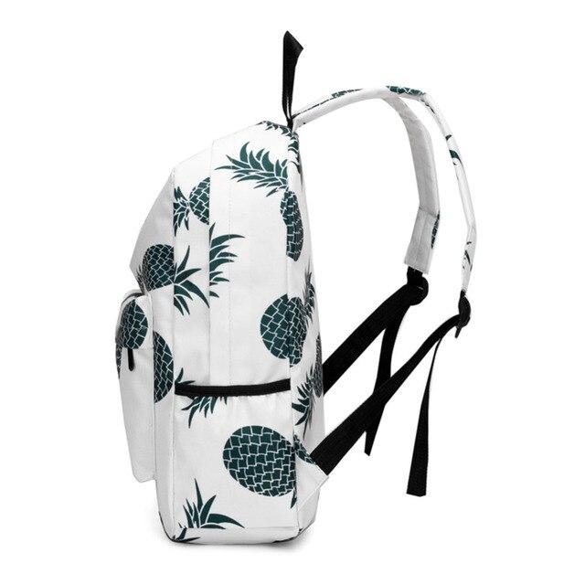 2018 ananas imprimer sac à dos femmes sac à dos de promenade décontracté doux carré voyage fermeture éclair sac adolescente épaule école sac à dos Mochila