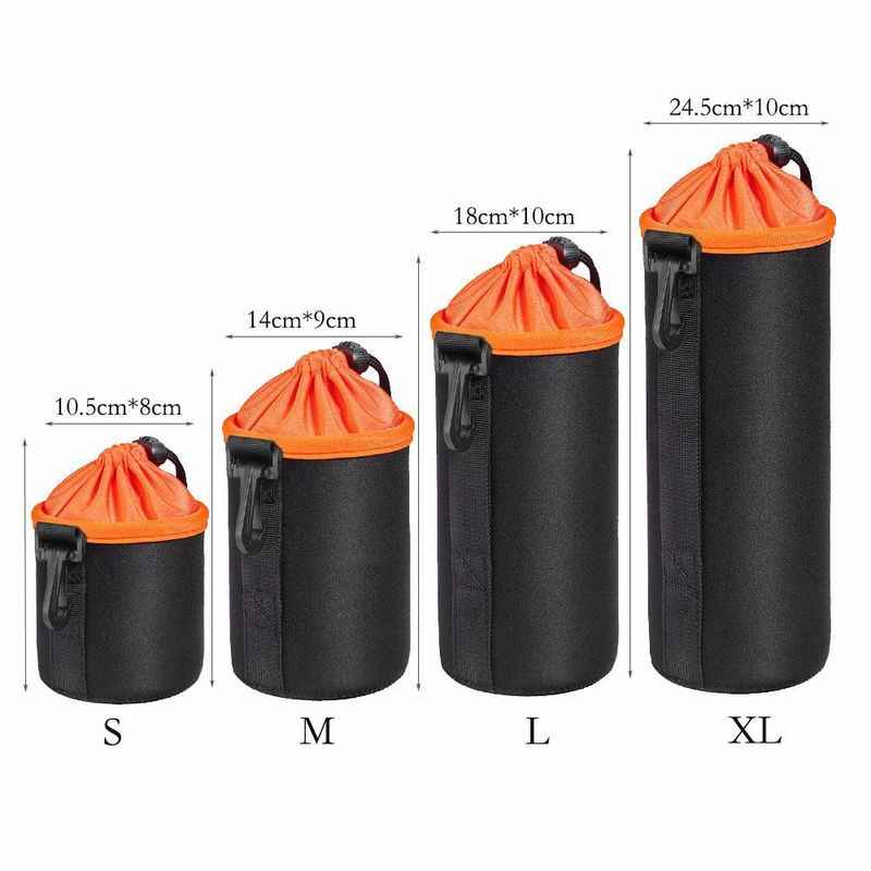1PC Portable néoprène étanche souple caméra vidéo lentille pochette sac étui pleine taille S M L XL