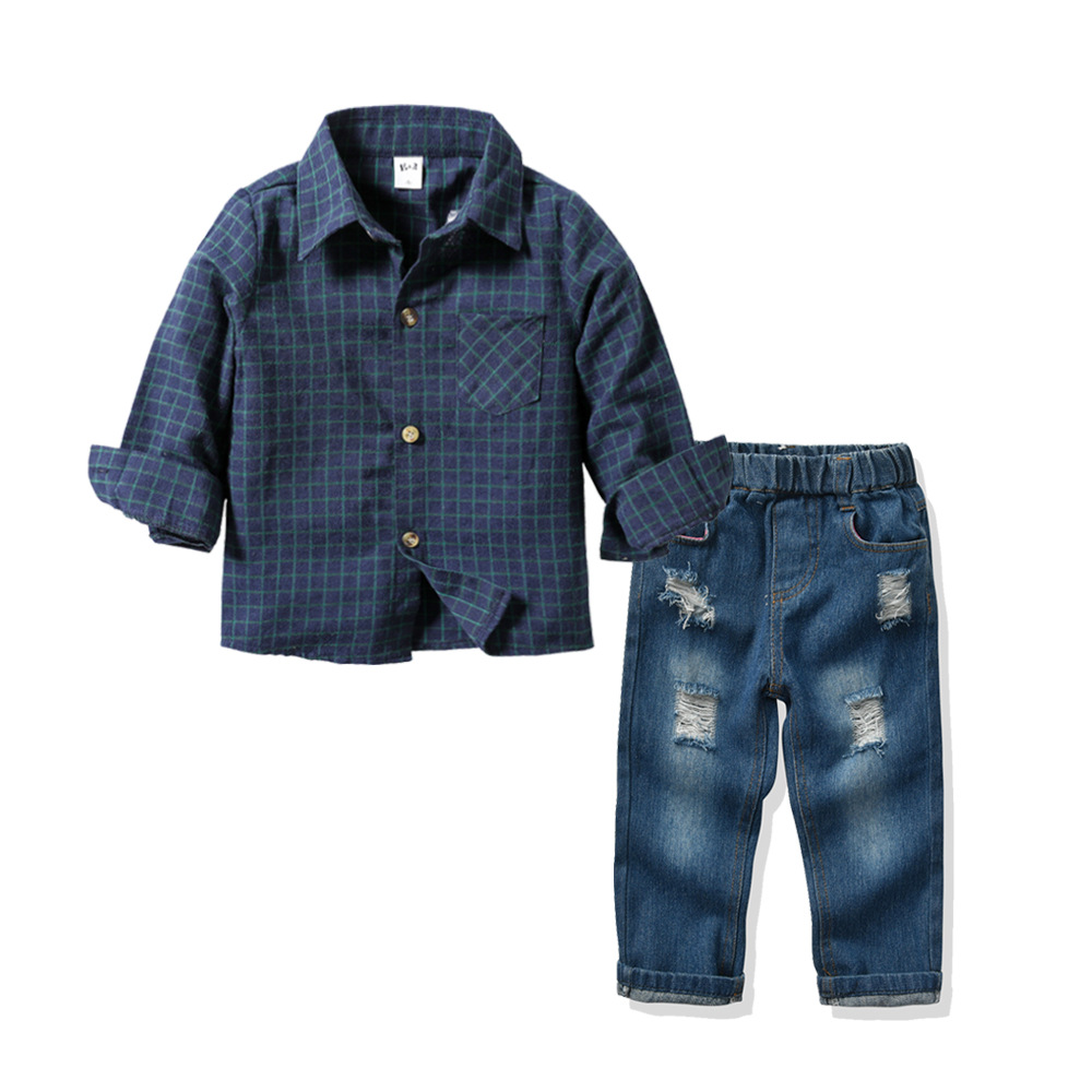 2020 gentleman Boy Suit Children's Clothing Sets For Spring Kids With Long Sleeves Shirts + jeans Trousers 2pcs kids Suit 8