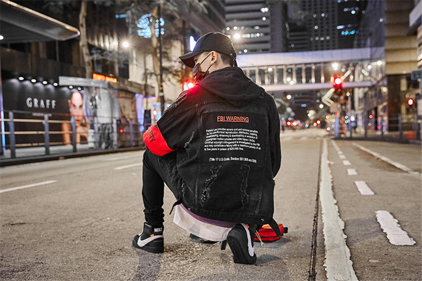 Denim Jackets Men Patch Print Hip Hop Jeans Jacket Men 2019 Autumn Black Material Denim Jackets Men Casual Jackets Streetwear - 5