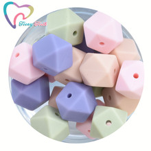 20 PCS Mix Color Silicone Beads BPA Free Hexagon Beads 14 MM Food Grade Silicone Teether DIY Teethin