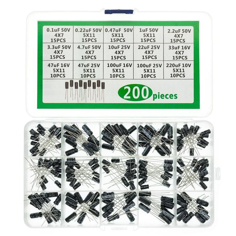 200PCS 0.1-220uF Electrolytic Capacitor Storage Assortment Box Kit 15 Value NEW