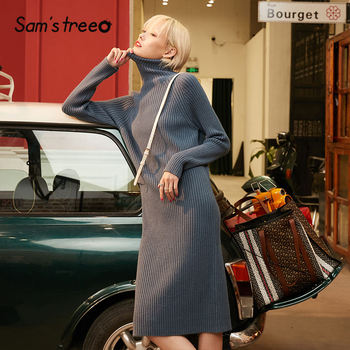 SAM'S TREE Multicolor Solid Minimalist Knit Pullover Sweater Dress Women 2020 Winter Pure Split Long Sleeve Soft Ladies Dresses 2