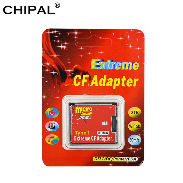CHIPAL High Quality New Micro SD TF to CF Adapter For MicroSD SDHC SDXC to Compact Flash Type I Memory Card With Retail Package