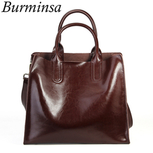 Burminsa Vintage Soft Women Genuine Leather Handbags Large Capacity Work Female Shoulder Bags High Quality Ladies Messenger Bags