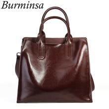Burminsa mulheres macias do vintage bolsas de couro genuíno grande capacidade trabalho feminino sacos ombro alta qualidade senhoras mensageiro sacos