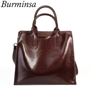 Image 1 - Burminsa خمر لينة المرأة حقيقية حقائب يد جلدية سعة كبيرة العمل الإناث حقائب كتف عالية الجودة السيدات حقيبة ساع