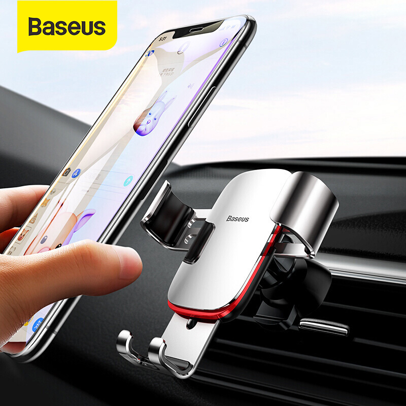 Baseus Metal Car Phone Holder For IPhone Samsung S20 Universal Mobile Phone Stand Car Air Vent Mount Holder Gravity Car Holder