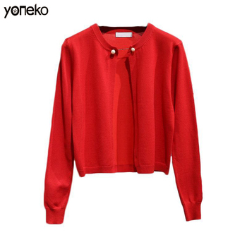 Yoneko Knitted Short Women Sweater Cardigan High quality Spring Autumn sweater Solid color Single Button Cashmere Thin