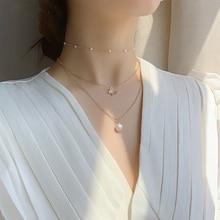 MENGJIQIAO Korean New Arrive Cute Zircon Butterfly Choker Necklace For Women Multi Layer Pearl Short Collares Jewelry Kolye