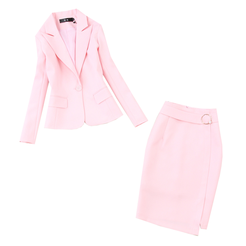 Women's Skirt Suit Office Occupation Professional Wear Interview Spring And Autumn Slim Pink Jacket Blazer Slim High Waist Skirt