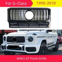 Gt amortecedor dianteiro grille para mercedes w463 1990-2018g classe g350d g500 g55 g63 esporte frente grill abs estilo do carro