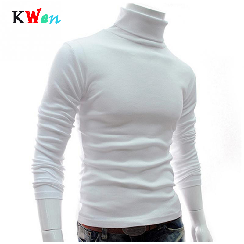 New Men Turtleneck Sweater Long Sleeve Solid Slim Fit Thin Knitted Pullover Mens Basic Style Sweaters Clothing Knitted Pullovers