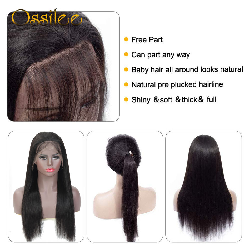 13x4/13x6 Straight Lace Front Human Hair Wigs 360 Lace Frontal Wigs Remy Brazilian Human Hair Lace Wigs for Women 250 Density 3
