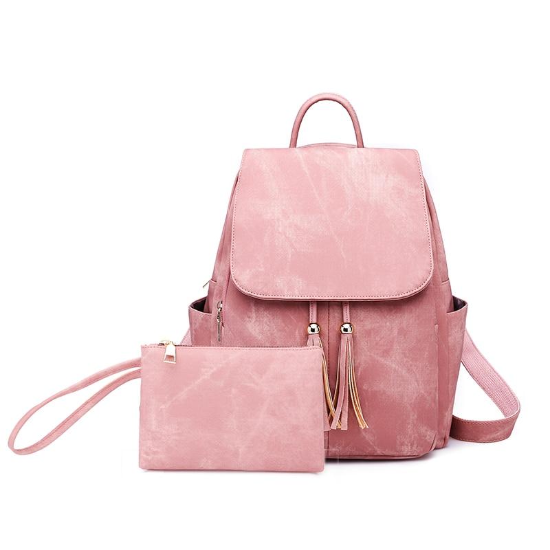 Fashion Woman Backpacks Lady's Leather Backpacks Female School Backpack Women Shoulder Bags For Teenage Girls Travel Back Tassel