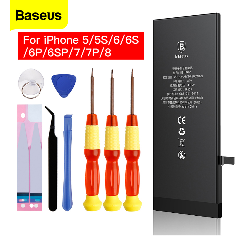 Baseus Mobile Phone Battery For <font><b>iPhone</b></font> 6S 6 Plus 8 7 8P Internal <font><b>Bateria</b></font> Replacement Real Capacity Batterie For iP 5S <font><b>5</b></font> image